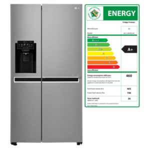 LG 601 litre Side by side fridge with water and ice dispenser.